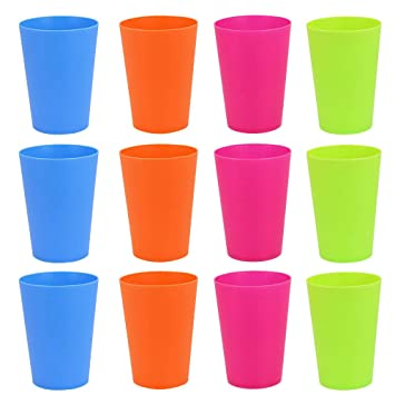 7b44ce0c61f Golrisen 12 Pcs Plastic Cups Reusable BBQ Cups 250ml Plastic Cups for  Indoor or Outdoor Parties