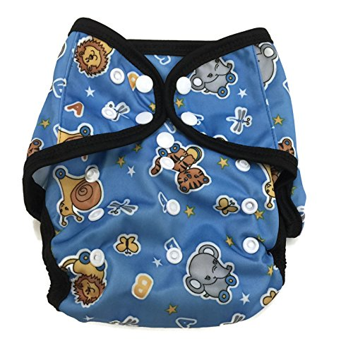 BB2 Baby One Size Printed Black Gussets Snaps Cloth Diaper Cover for Prefolds (One Size, Cute Animals)