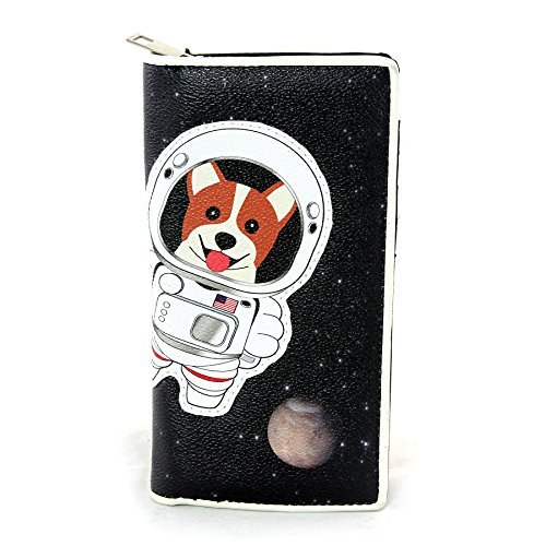 Ashley Clutch (Corgi Astronaut in Space Wallet in Vinyl Material)