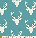 Buck Forest Lake - Hello Bear - Art Gallery Fabric - Bonnie Christine - HBR-4434-10 - Deer Silhouette Teal Blue Antlers Silo Head (Yard)