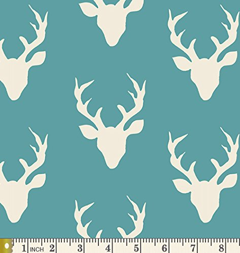 - Buck Forest Lake - Hello Bear - Art Gallery Fabric - Bonnie Christine - HBR-4434-10 - Deer Silhouette Teal Blue Antlers Silo Head (Half Yard)