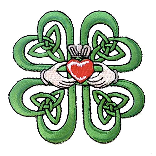 Irish Claddagh Ring w/ Celtic Weave & Lucky Four Leaf Clover Iron On Patch Applique