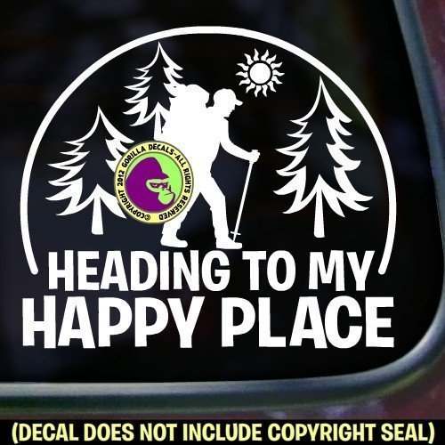 HEADING TO HAPPY PLACE HIKER Vinyl Decal Sticker B