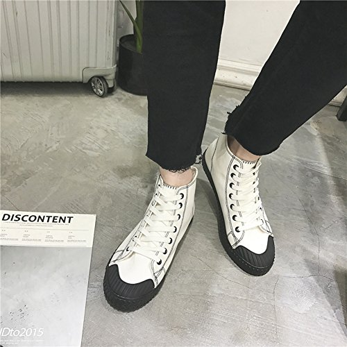 Color Canvas Loafers Espadrilles Shoes White 39 Comfort HUAN Casual Sneakers Mens Deck Shoes Size Shoes Flat Work dO06wEq