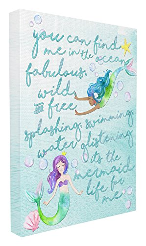 Stupell Home Décor Mermaid Life For Me Painting Stretched Canvas Wall Art, 16 x 1.5 x 20, Proudly Made in - Childrens Theme Art