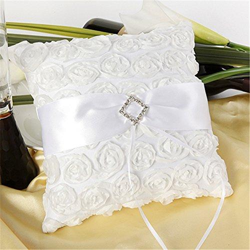Lingstar Rosette Patals Pure White Satin Wedding Flower Girl Ring Bearer Pillow Set 2020cm
