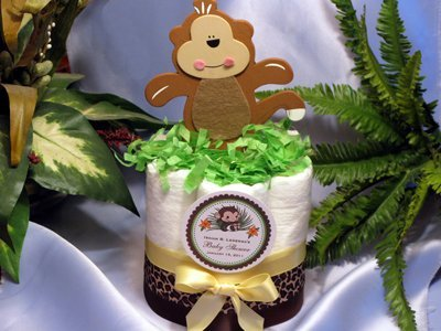 LITTLE MONKEY Jungle Safari Mini Diaper Cakes - Handmade By LMK Gifts - Gift For Boy or Girl - Makes a Great Baby Shower ()
