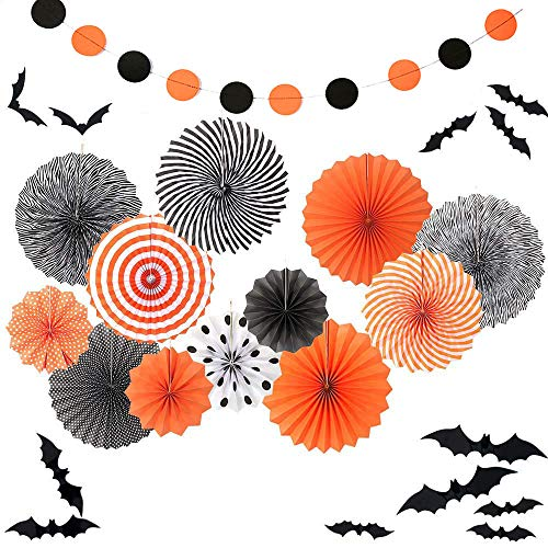 Sorive 12 Black Orange Party Hanging Paper Fans Party Ceiling Hangings Halloween Baby Shower Birthday Wedding Party Decorations,12pc 3D Bat Wall Stickers Window Decor Supplies -