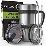 Stainless Steel Travel Mug 30oz – 6 Piece Set. Tumbler with Straw, Handle