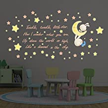 Wall Stickers Twinkle Twinkle Little Star Wall Art Murals Removable Self-Adhesive Decals Nursery Kindergarden Kids Room Restaurant Cafe Hotel Home Decoration