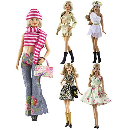 (Lance Home Fashion 5pcs Handmade Plush Coat Clothes Outfit + 10 Pairs Shoes for Barbie Doll Xmas Gift (D) )