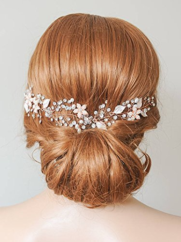 (SWEETV Rose Gold Wedding Heaband Bohemian Headpiece Crystal Pearl Hair Vine Flower Halo Bridal Hair Accessories)