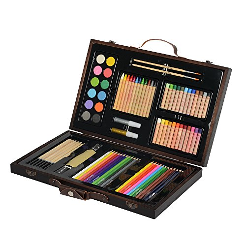 KIDDYCOLOR Portable Art Set - Kid's Wood Art Case (86 (Portable Art)