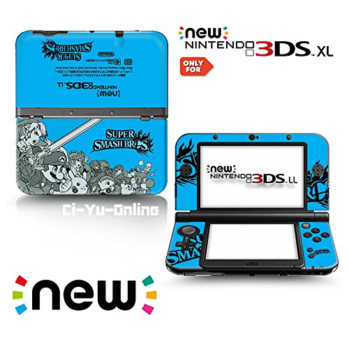 Ci-Yu-Online VINYL SKIN [new 3DS XL] - Super Smash Bros. Blue - Limited Edition STICKER DECAL COVER for NEW Nintendo 3DS XL / LL Console System (Bros Smash Super Decal)