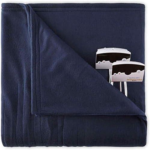 Biddeford 1003-9052106-544 Knit Fleece Electric Heated Blanket Queen Blue