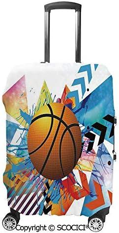 ジグザグ円形幾何学的ミニマリストフォームグラフィックの前にバスケットボール 荷物保護カバー,旅行ケース保護ケース 荷物ケース,スーツケース保護カバー 防塵,傷防止 旅行,出張 スーツケースの保管 防塵ケース,防塵カバー