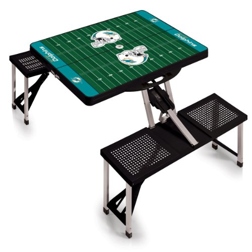 NFL Miami Dolphins Football Field Design Portable Folding Table/Seats, Black