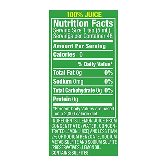 ReaLemon 100% Lemon Juice, 8 Fluid Ounce Bottle 4 One 8 fluid ounce bottle 100% lemon juice from concentrate Great for use in recipes and beverages