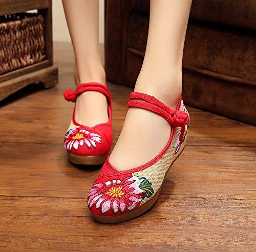 Chnuo Zapatos bordados lino lenguado del tendón estilo étnico zapatos femeninos aumentados manera cómodo ocasional red
