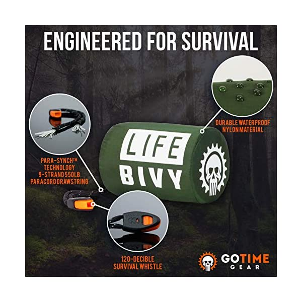 Go-Time-Gear-Life-Bivy-Emergency-Sleeping-Bag-Thermal-Bivvy-Use-as-Emergency-Bivy-Sack-Survival-Sleeping-Bag-Mylar-Emergency-Blanket-Includes-Stuff-Sack-with-Survival-Whistle-Paracord-String-4