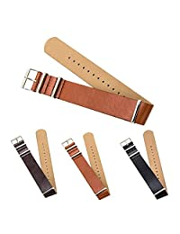 "CIVO Premium Leather NATO Watch Strap Zulu Military Swiss G10 Watch Band 18mm 20mm 22mm Standard & Extra Long (Brown, 20mm - Standard (10""))"