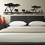 V&C Designs (TM) African Safari Landscape Vinyl Girls Room Boys Room Baby Nursery Lounge Wall Sticker Decal Mural Wall Art Decoration