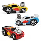 3-in-1 Hot Rod Muscle Race Car Vehicle Toy PlaySet w/ Forward Drive Motion, Lights & Sounds
