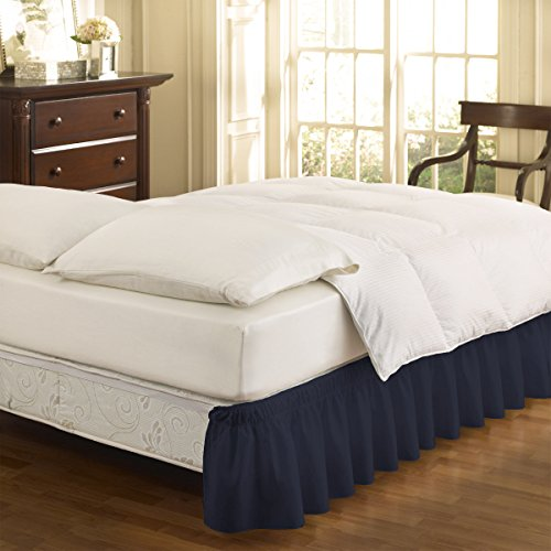EasyFit 11577BEDDTFUNVY Wrap Around Solid Ruffled Twin/Full Bed Skirt 75-Inch by 39-Inch with 15-Inch drop, Navy - Homestyles Twin Bed