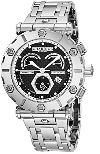Charriol Rotonde Quartz Mens Chronograph Watch Stainless Steel - 42mm Analog Black Carbon Fiber Face Swiss Chronograph Watch For Men RT42CR.T42.R02