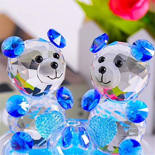 Rose Flower Crystal Glass Animals Bear Figurines Ornaments Christmas Home Car Decoration Perfume Bottle Feng Shui Term Gift (Blue) (Color : Blue)