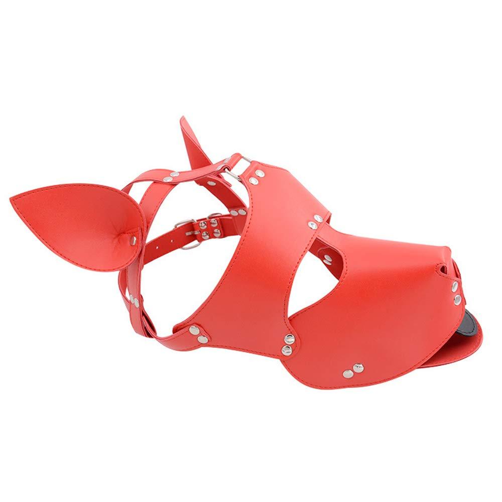 YA Máscara del Sexo del Perro Cosplay Máscara Perro del Perro Máscara del Cuero de la PU Capucha Atractiva del Perro Ojos Abiertos Cabeza del Perro Bondage Capucha del Esclavo del Fetiche Máscara Negra,Red 8090fe