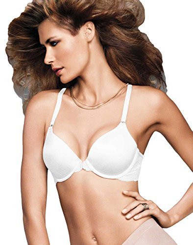 Maidenform One Fab Fit Extra Coverage Lace T-Back Bra, White, 36DD - Extra Wide Lace Bra