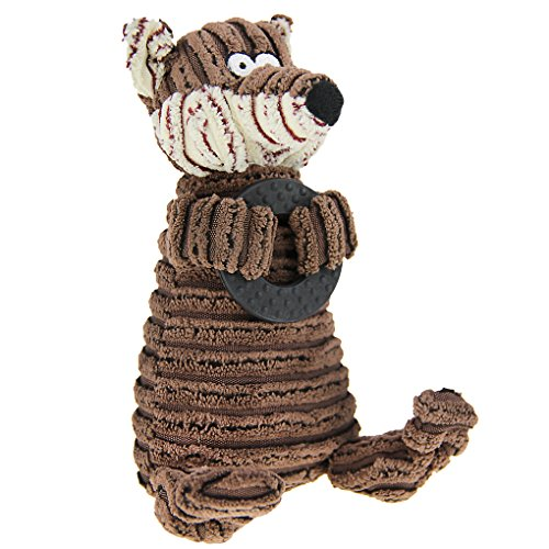 Cute Animal Shape Corduroy Durable Pet Dog Cat Stuffed Chew Toy Teeth Cleaning Training Squeaker Play Chew Rope Toys Teether for Small Medium Dogs Puppies Plush Sound Squeaky Toy Pet Plaything Puppet by Fakeface (Image #3)