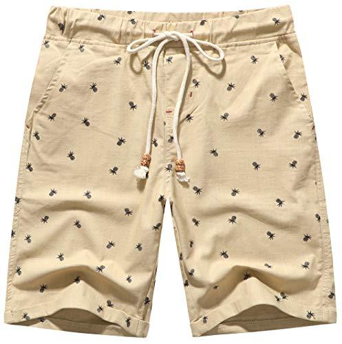 Boisouey Men's Linen Casual Classic Fit Short (Khaki Pineapple, 2XL) -
