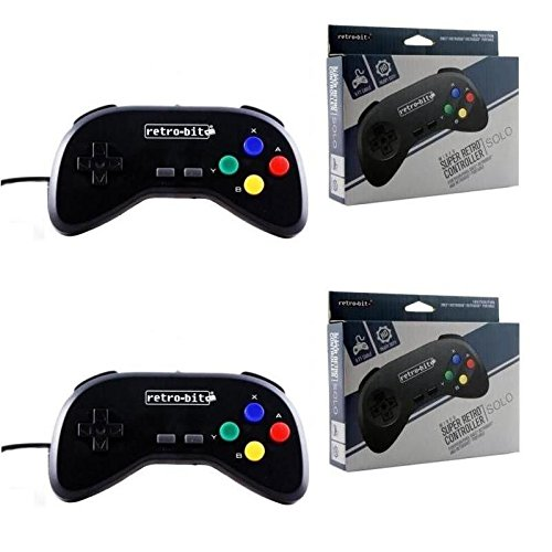 Retro-Bit - 2 Packs - SNES - Controller - Wired - Super Retro RDP - Single Pack - Black ()