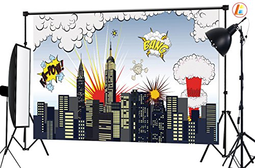 LB 7x5ft Super City Vinyl Photography Backdrop Customized Photo Background Studio Prop HR01 (City Scape Backdrop)