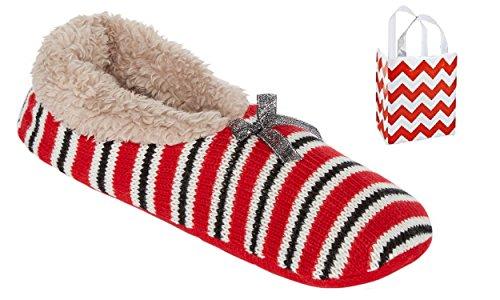 Mixit Dames Bootie Pantoffels 1 Paar & Tas Multi-pack Geschenk Set Rode Streep