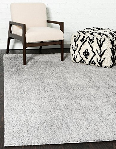 Unique Loom Serenity Solid Shag Collection Super Soft Micro Polyester Light Gray Area Rug (4' 0 x 6' - Serenity Small Rug
