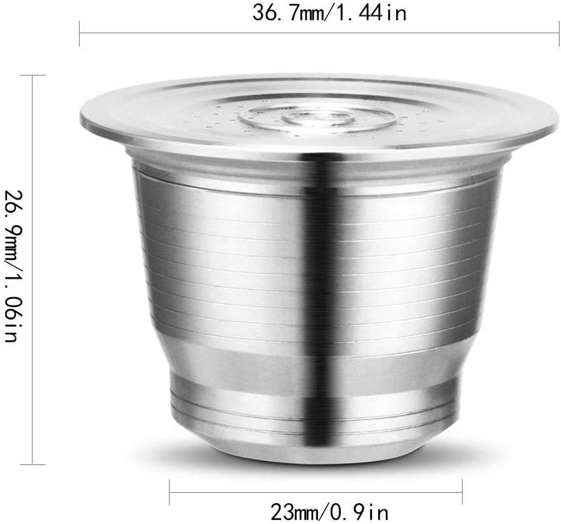 Hamkaw Reusable Coffee Pods Stainless Steel Replacement Coffee Capsule Refillable Filter Cup Accessories Compatible With Nespresso U//CitiZ//Pixie//Le Cube//Maestria//Lattissima//Inissia//Concept