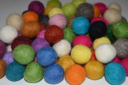 100% Wool 20mm Felt Balls | 0.8inch Pom Poms | Pure Wool Beads | Mixed Color | Felt Ball DIY (100 Felt Balls)