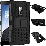 SDO™ Rigid Dual Layer Kickstand Hybrid Warrior Case Back Cover for OnePlus Two - Black