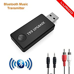 [Upgrade Version] Bluetooth Transmitter,LURICO 3.5mm Portable Stereo Audio Wireless Bluetooth Transmitter for TV, iPod, MP3/MP4, Headphones / Receivers, 2 Devices Pair Simultaneously
