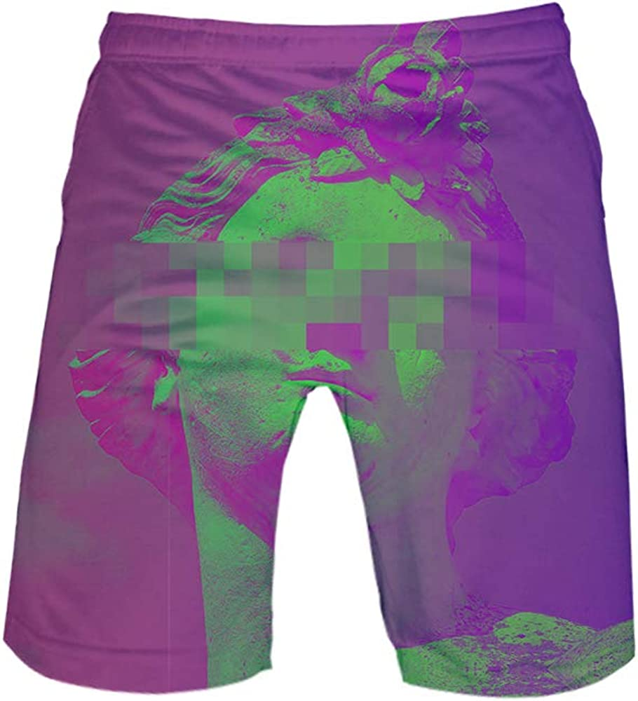 URVIP Child Vaporwave 3D Swim Trunks Summer Board Beach Shorts Bathing Suit