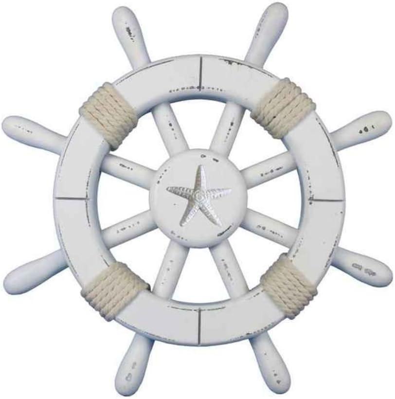 "Hampton Nautical Rustic White Decorative Ship Wheel with Starfish 12"""