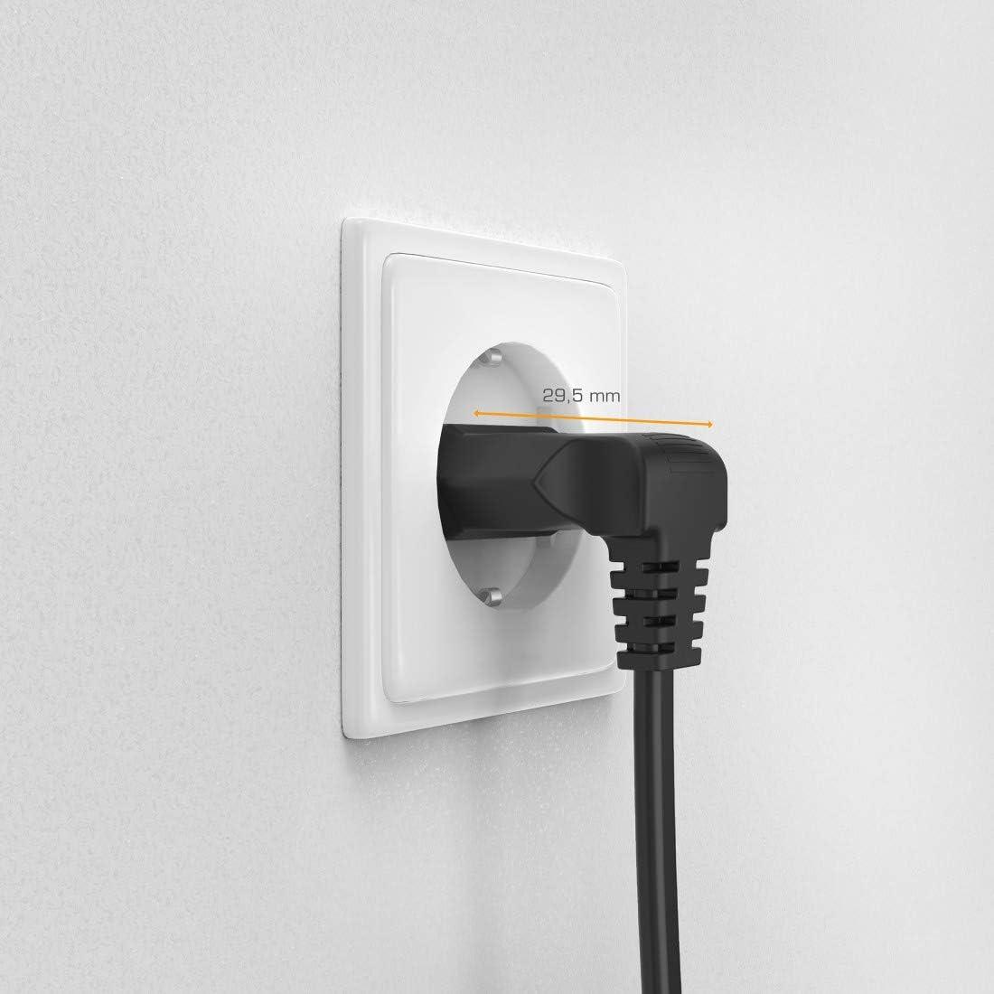 2 Pines, 3 m Negro Flashstar Cable de alimentaci/ón Europeo para Equipos el/éctricos y Multimedia Acodado a 90/º en Ambos Lados Enchufe Doble Euro 8 con protecci/ón