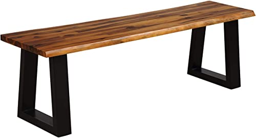 Giantex Wooden Dining Bench Seating Chair Rustic Indoor Outdoor Furniture Rustic Brown Black