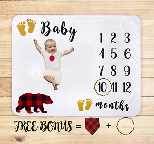 Baby Monthly Milestone Blanket for Boy Girl, Mom Bear Flannel Nursery Bed Swaddling Thick Throw for Newborn Birthday Gift, DIY Personalized Photography Background Photo Blankets + Bib + Wreath Marker ()
