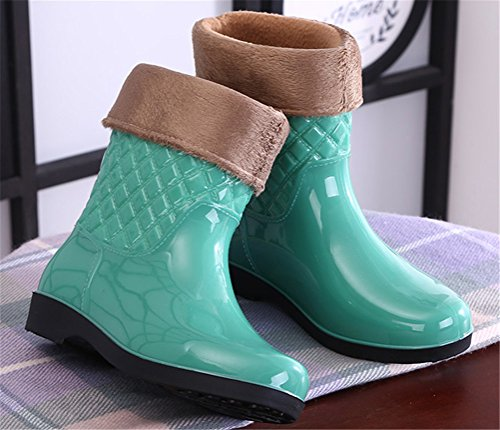 Boots Casual SHOCK Rain Women Antiskid Green Calf ACE Mid Rain Brushed Waterproof Footwear Pull on qpfYwCwEx