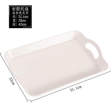 Vajilla para Bandeja plato rectangular de plástico bandeja de té bandeja antideslizante, blanco grande