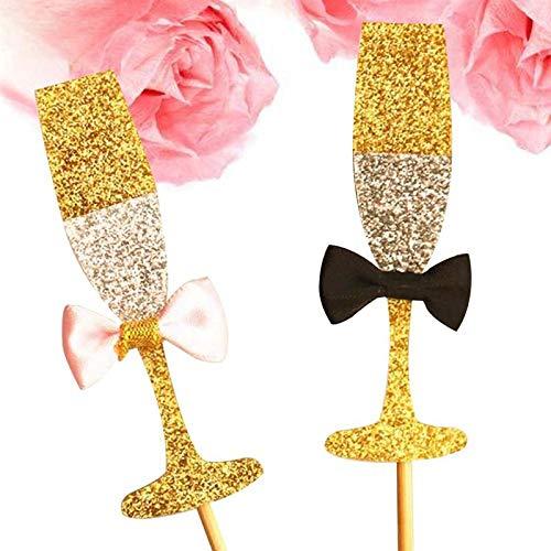 20 copas de champán doradas brillantes para decoración de tartas ...